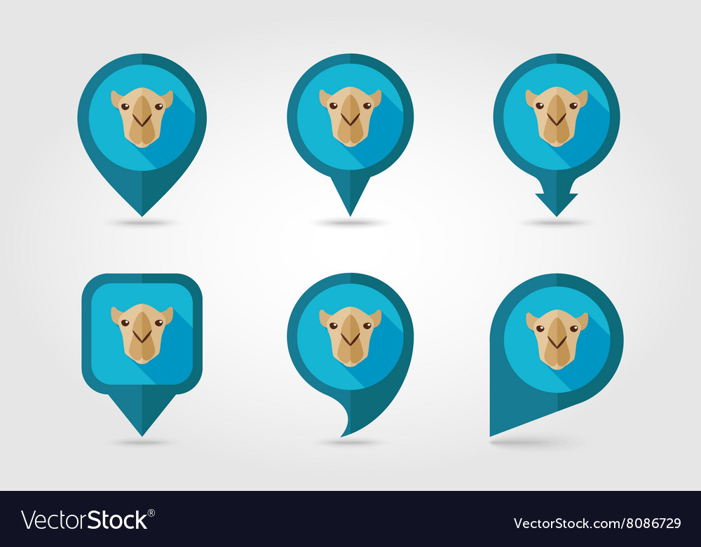 Camel flat pin map icon animal head symbol vector