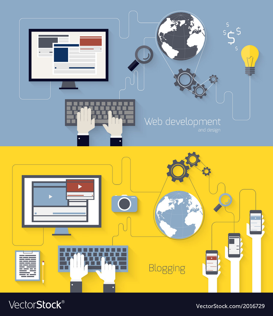 Web development and blogging design vector