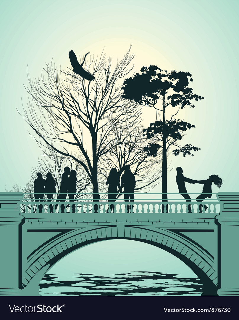 Bridge people vector