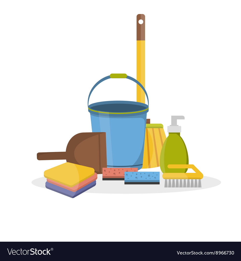 Household supplies and cleaning flat icons vector