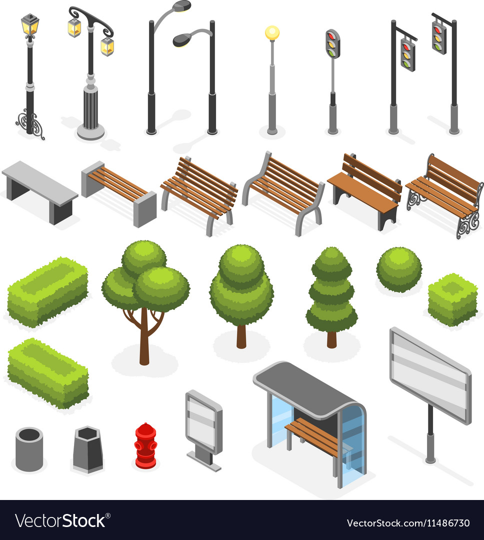 Isometric city street outdoor objects set vector
