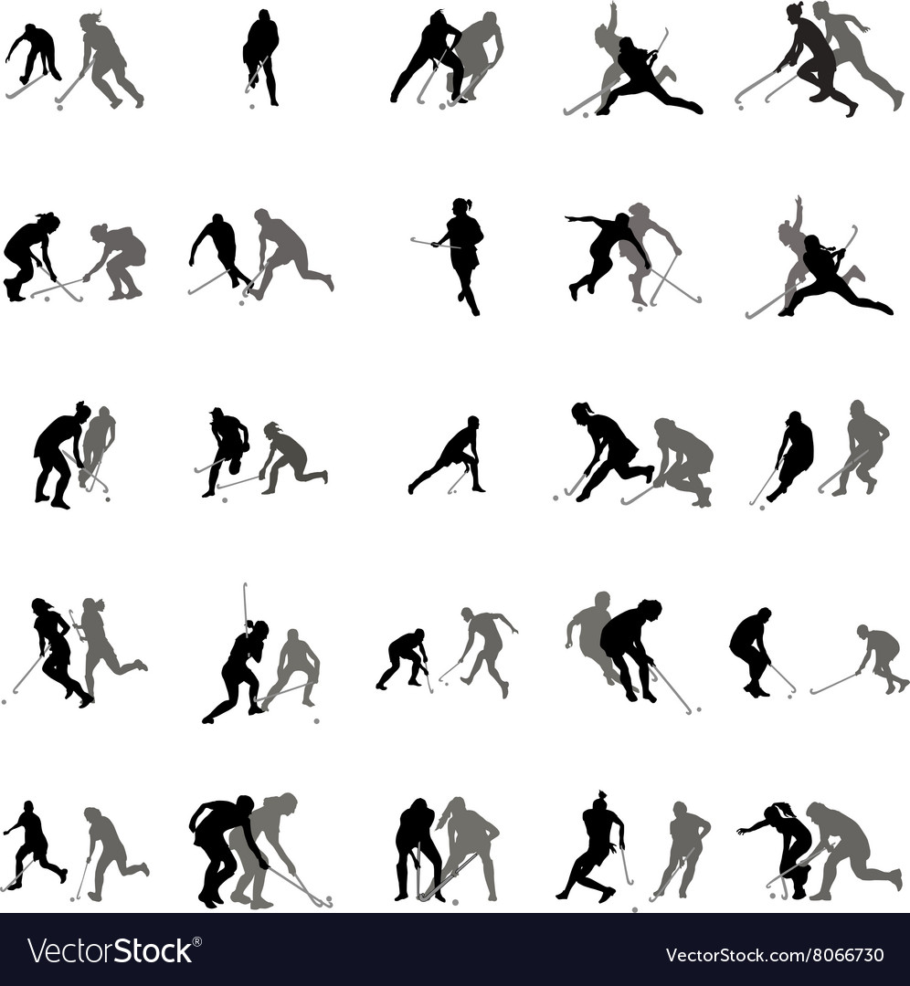 Players in hockey on the grass silhouette set vector