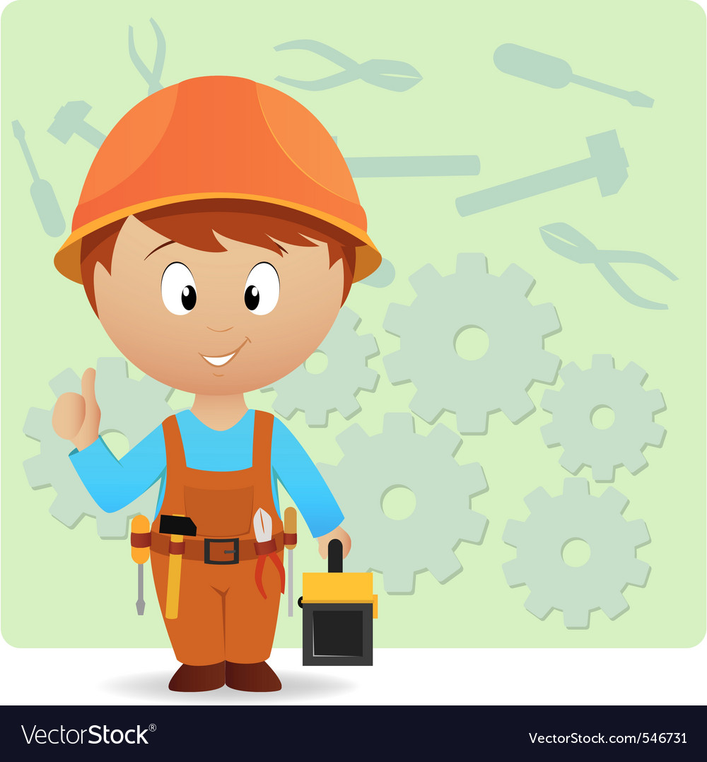 Cartoon handyman vector