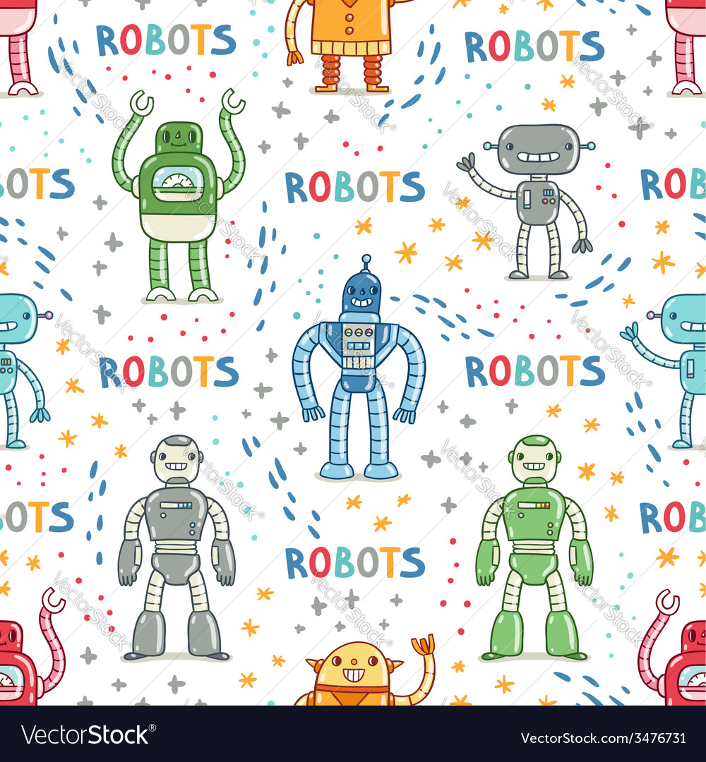 Colorful cartoon robots white background seamless vector