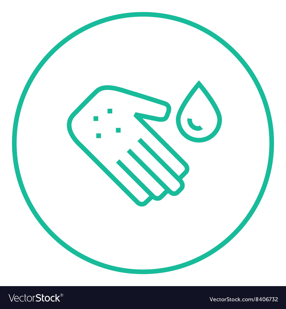 Hand with microbes line icon vector
