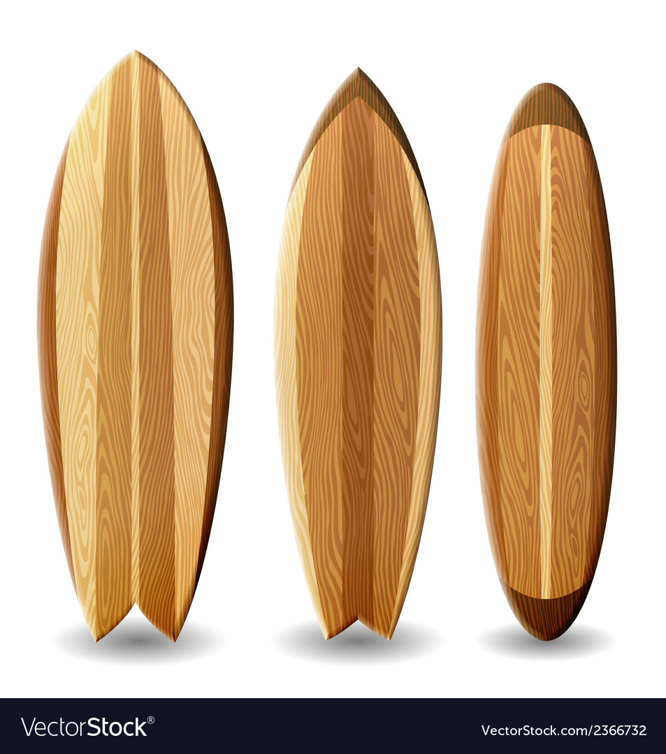 Wooden surfboards vector