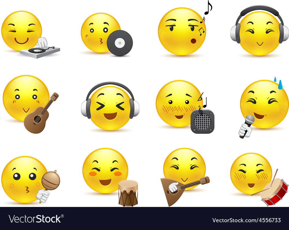 Anime smilies musical instruments vector