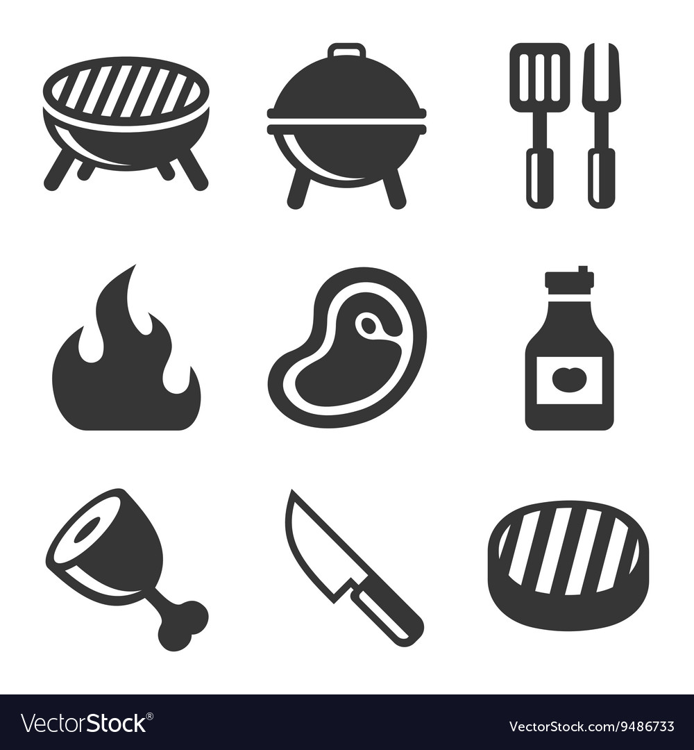 Grill and barbecue icons set vector