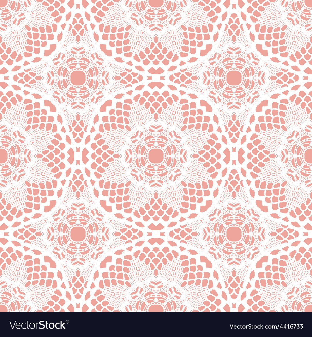 Lace white seamless mesh pattern vector