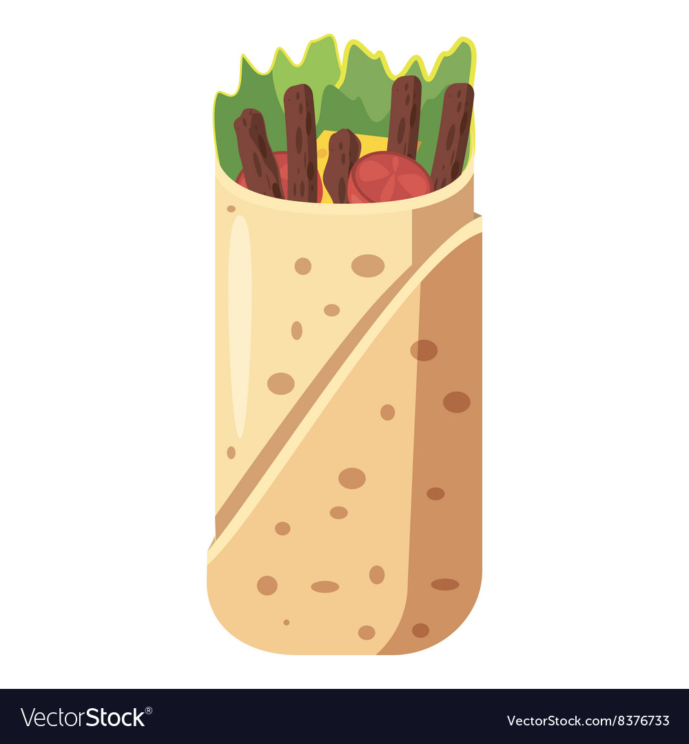 Shawarma icon cartoon style vector