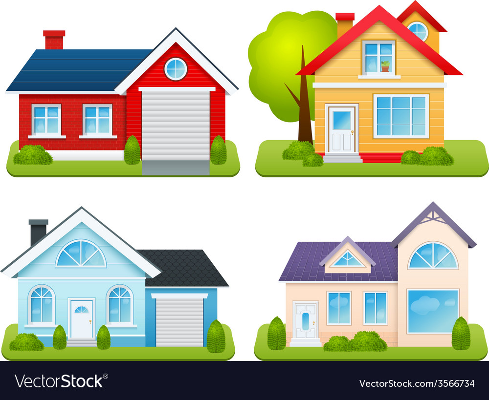 Private houses set vector
