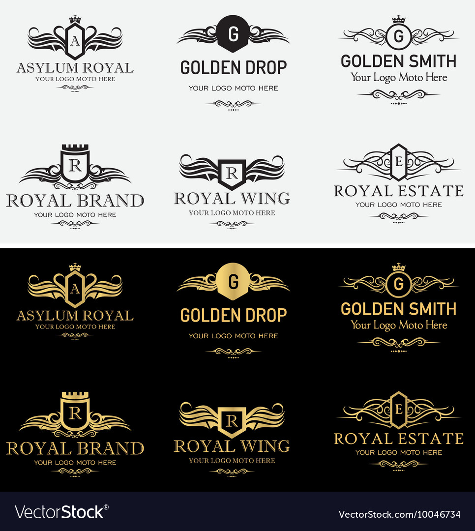 Royal shield logos and badges set 3 vector