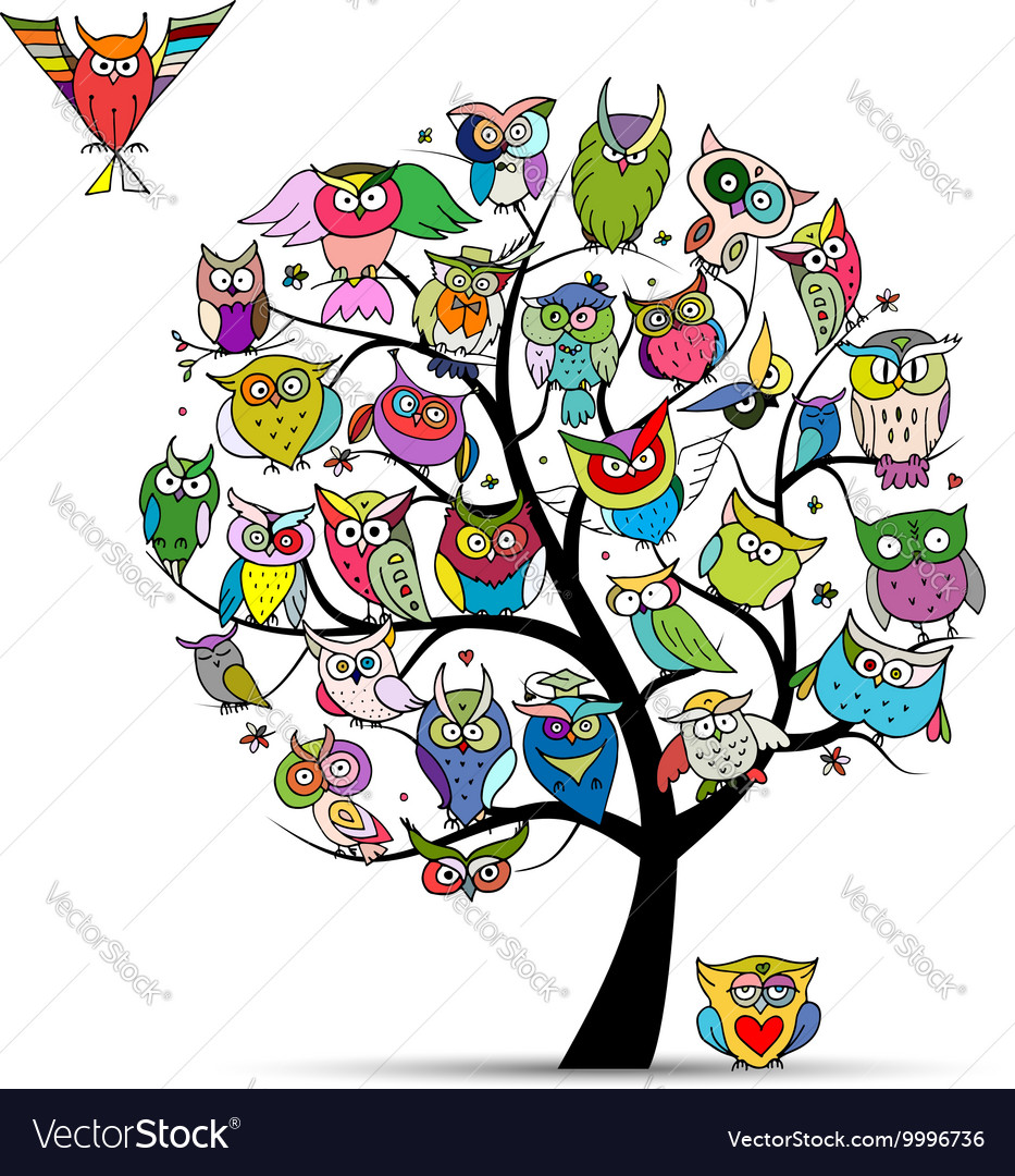 Owl tree for your design vector