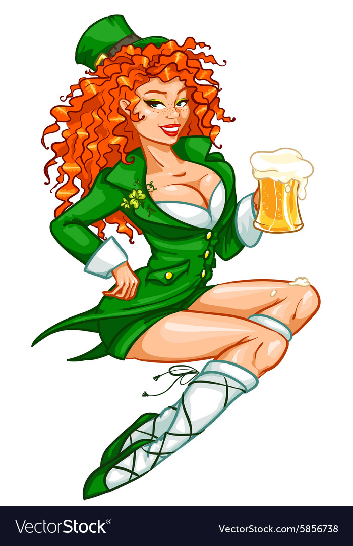 Beautiful irish girl with beer vector