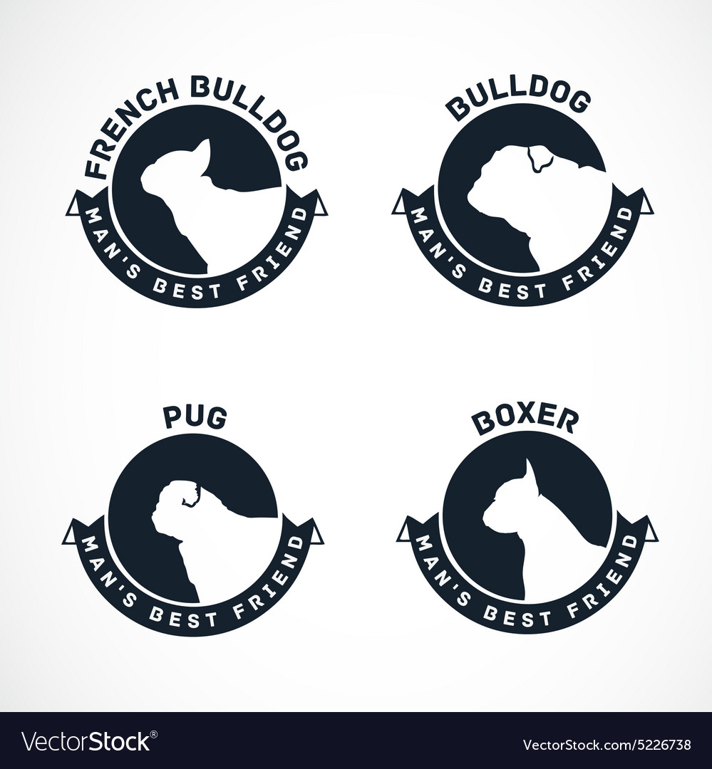 Collection of dog silhouette badges vector