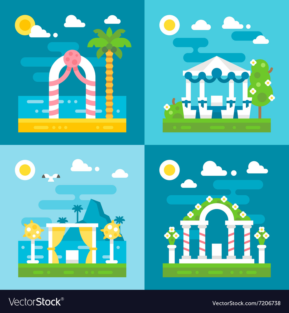 Flat design wedding arch decoration vector