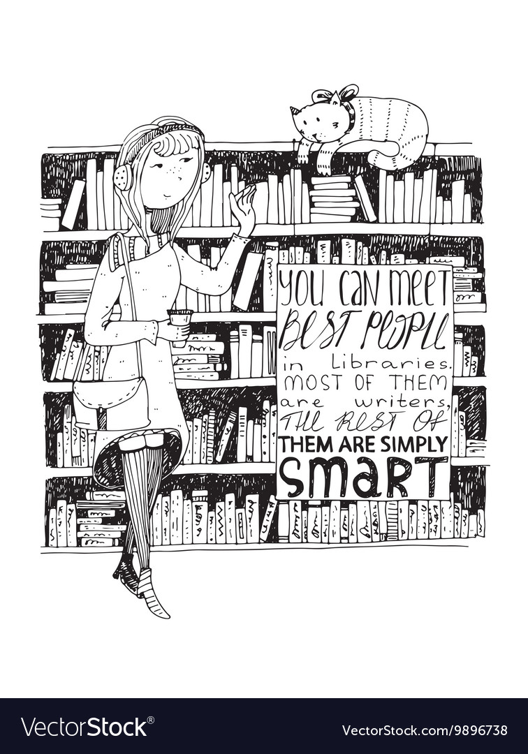 Girl and cat meeting in a library hand vector