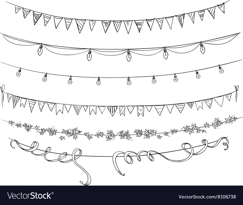 Set of flags and decorations vector