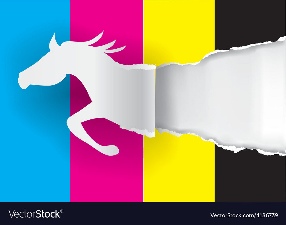 Horse silhouette ripping paper with print colors vector