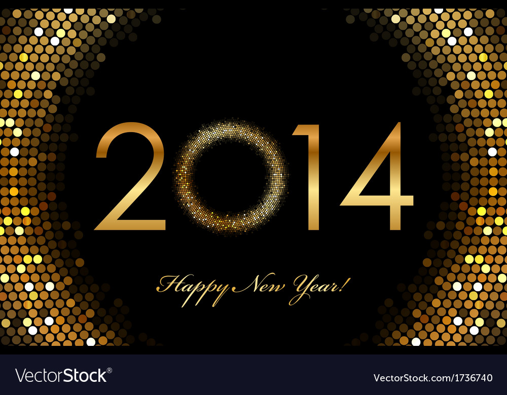 2014 happy new year glowing background vector