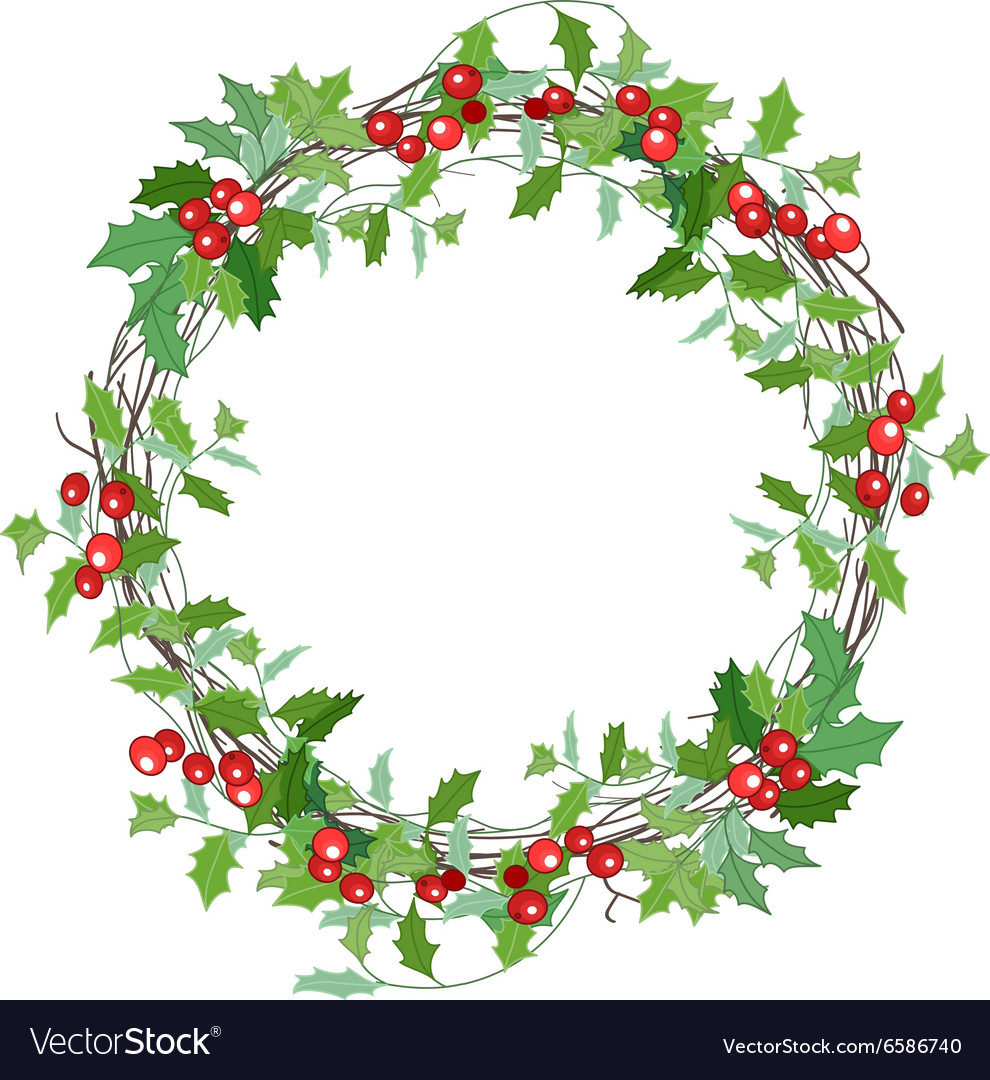 Round christmas wreath with holly branches vector
