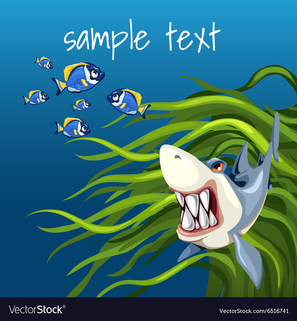 Angry shark among algae and a set of small fish vector