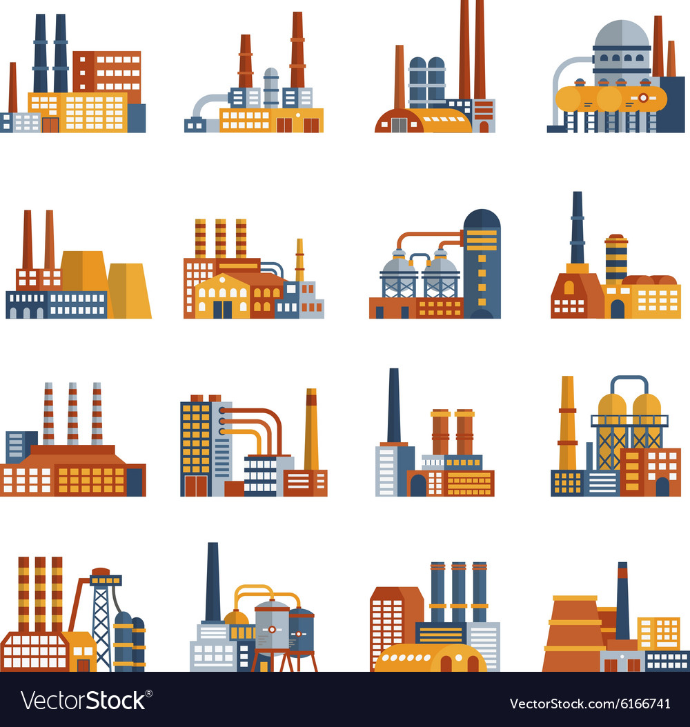 Factory flat icons set vector