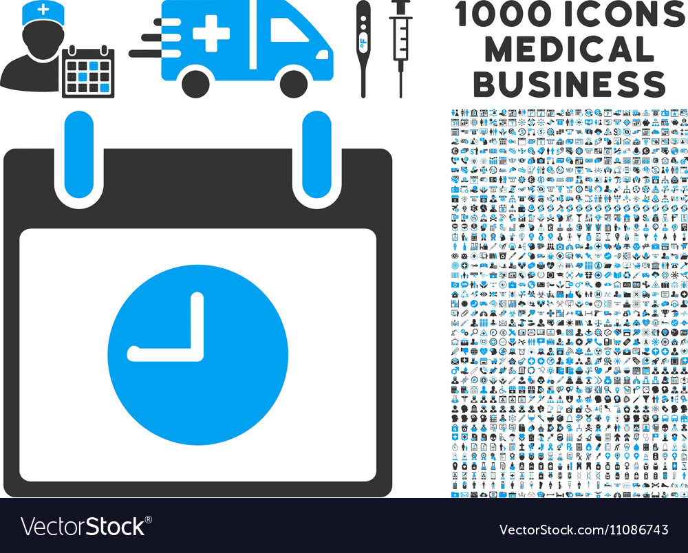 Clock calendar day icon with 1000 medical business vector