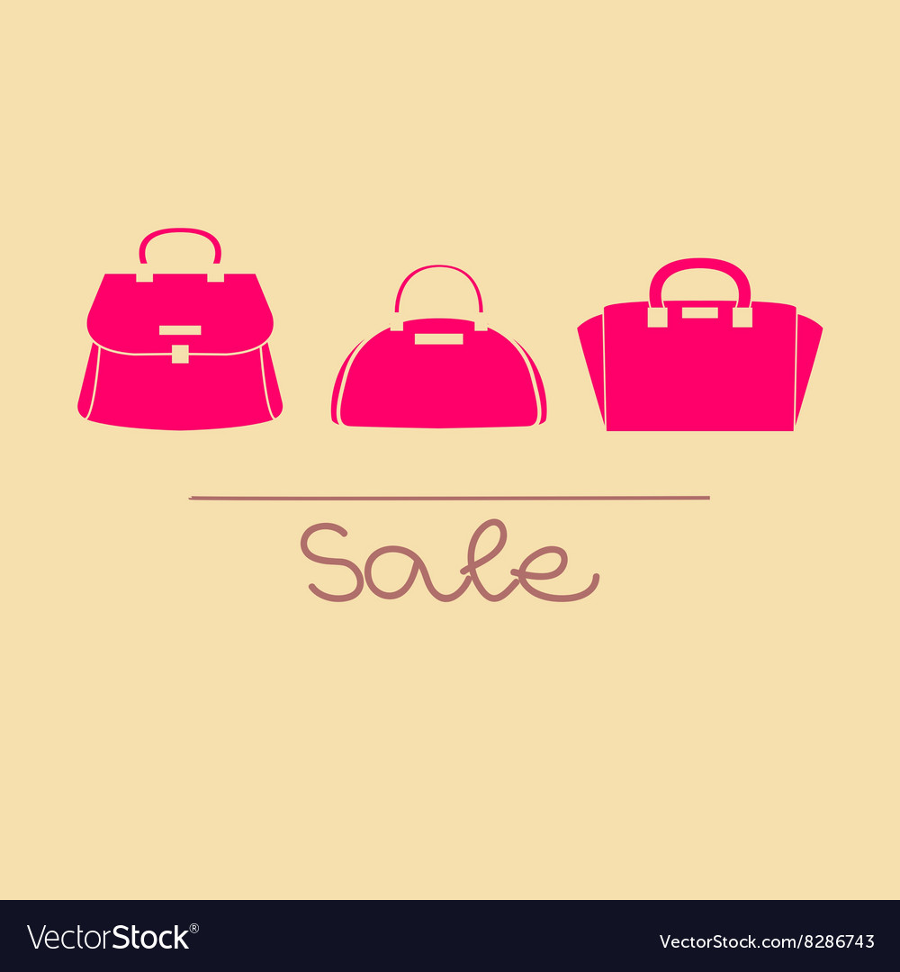 Colorful handbags with sale vector