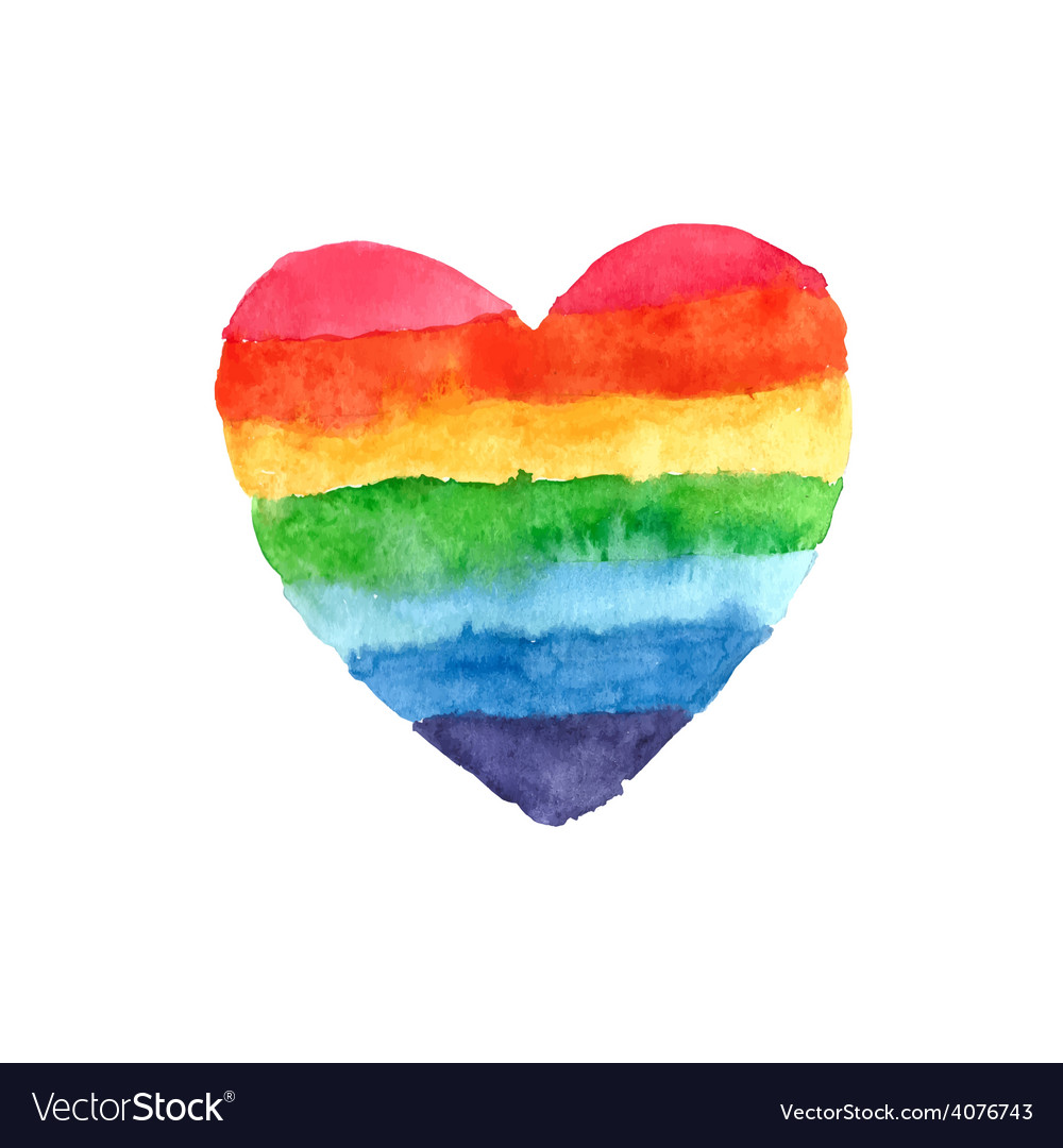 Rainbow heart vector