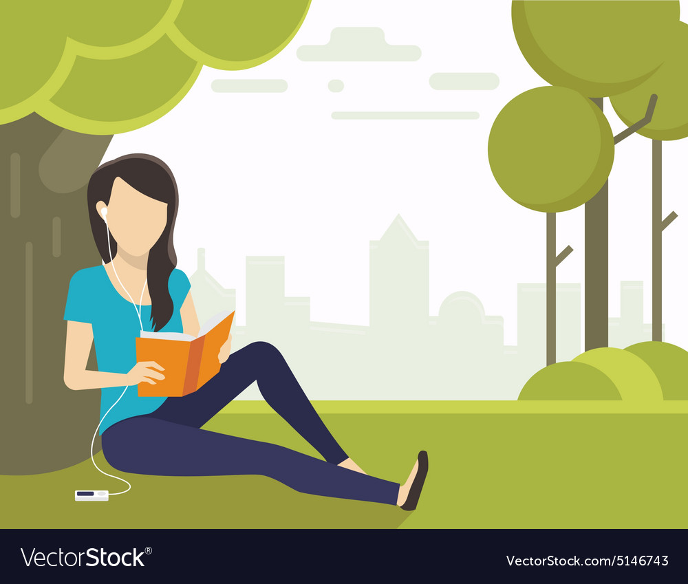 Woman reading a book vector