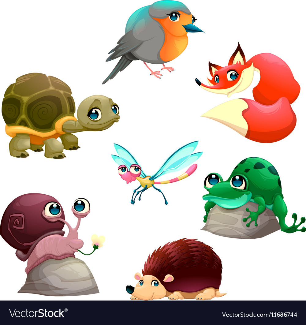Group of cute isolated animals vector