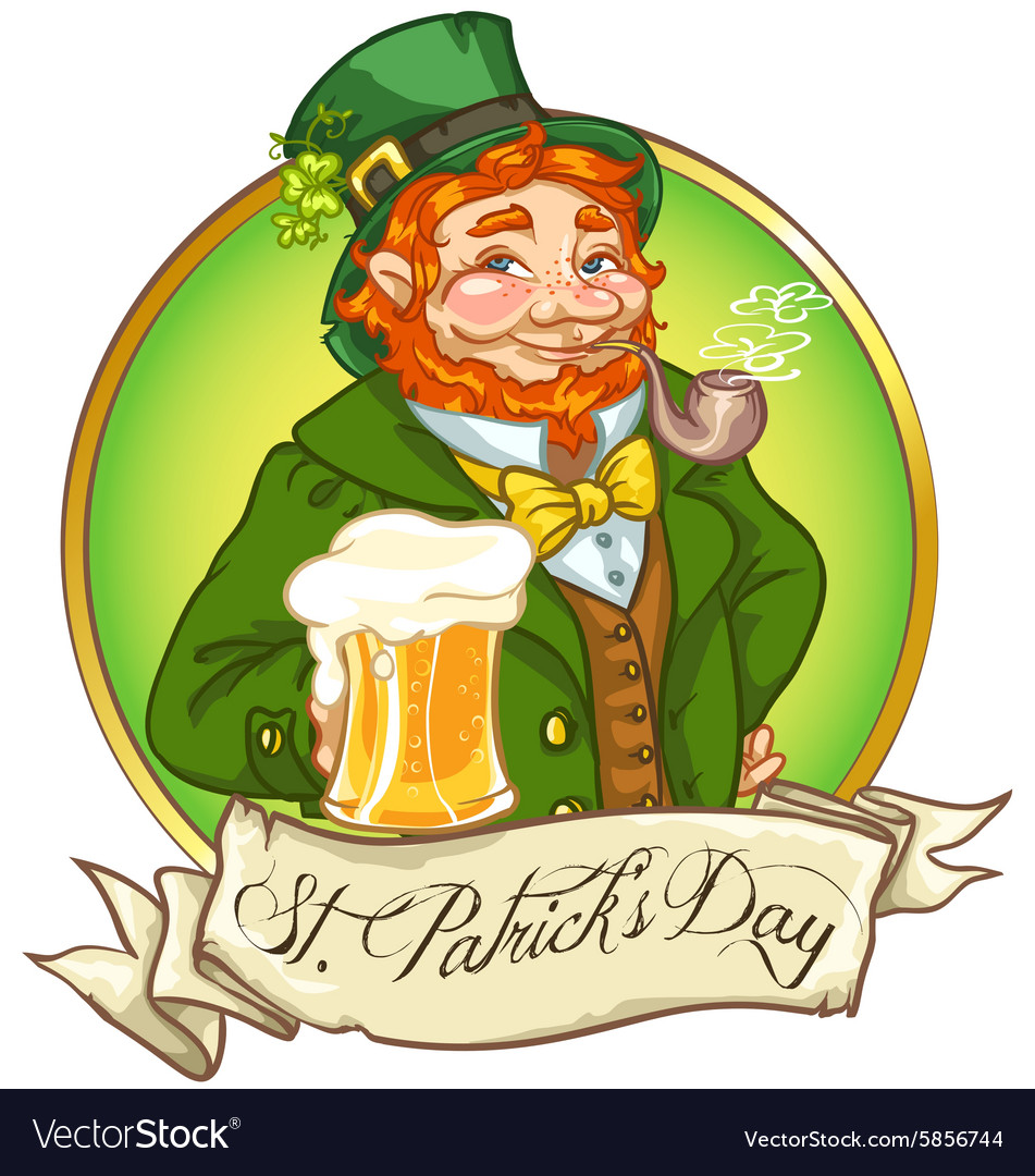 Leprechaun irish man with beer vector