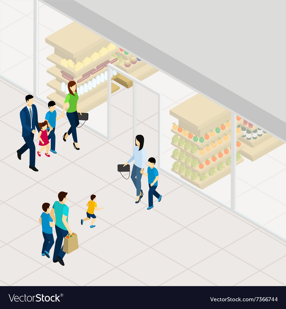 Supermarket isometric vector