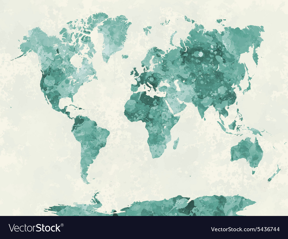 World map in watercolor green vector