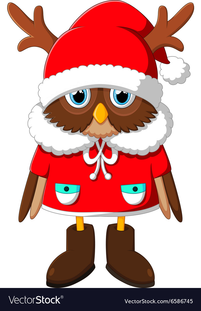 Image owl with santa reindeer vector