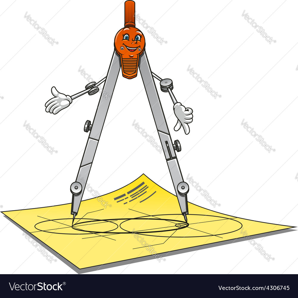 Smiling cartoon drawing compass character vector