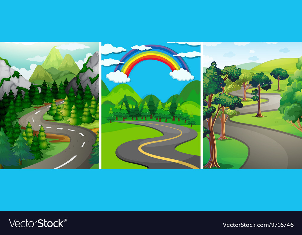 Nature scene with street and forest vector