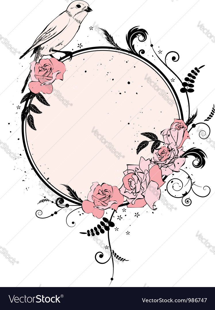 Frame with roses and bird vector