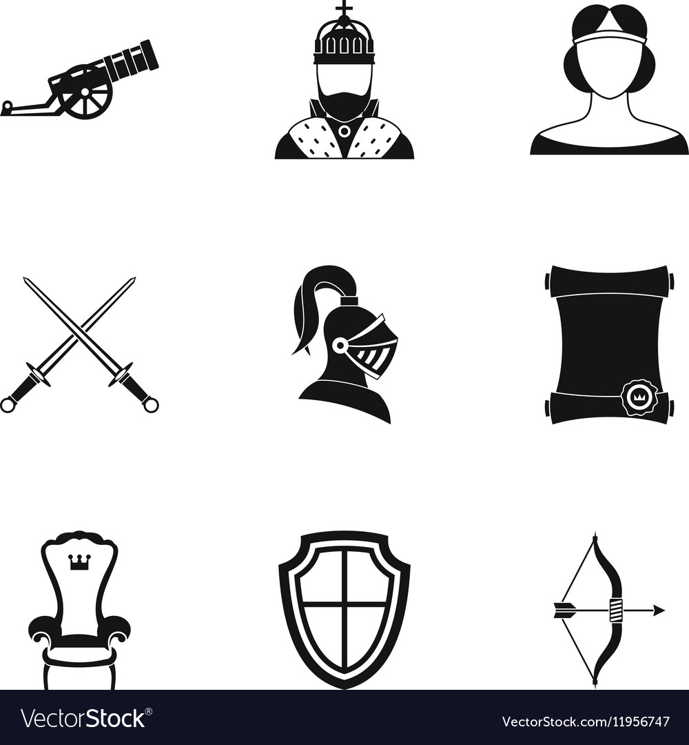 Knight icons set simple style vector