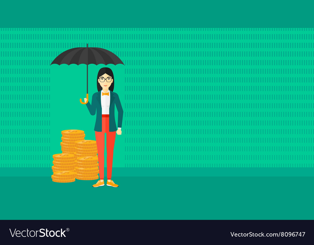Woman with umbrella protecting money vector