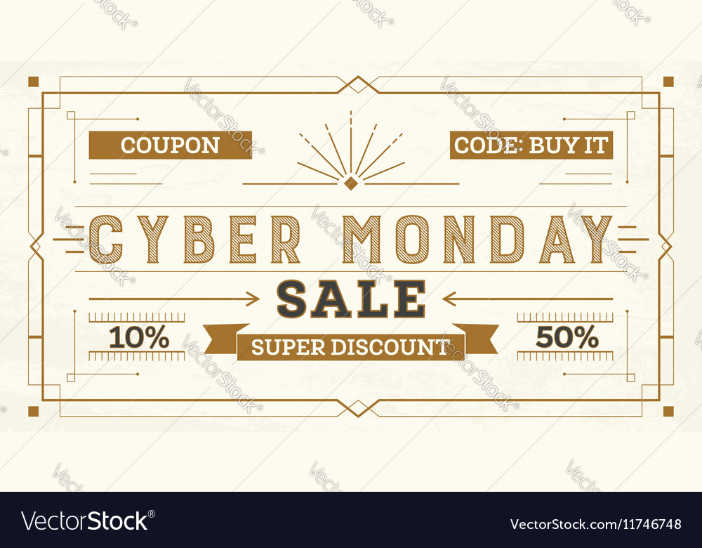 Cyber monday sale retro background vector