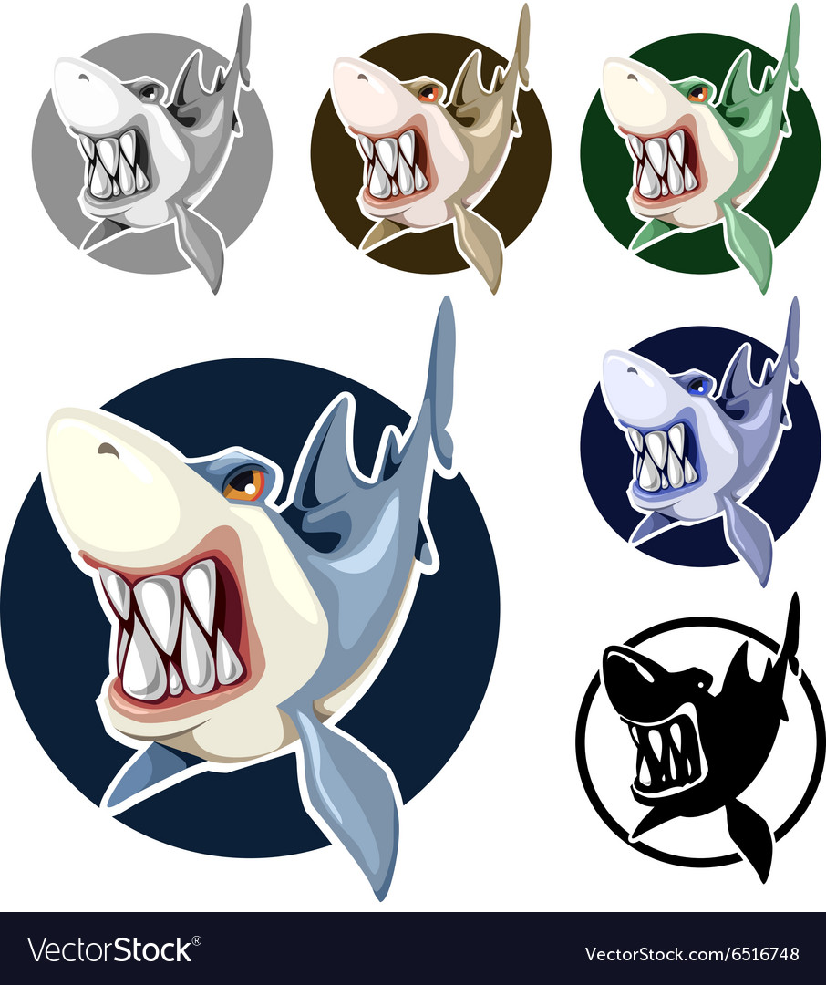 Sharks set assorted colors in the circle vector