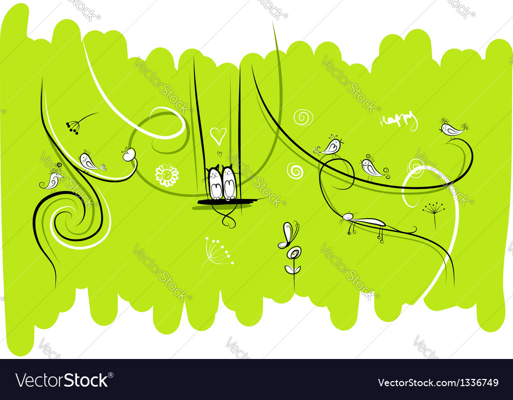 Banner with funny birds and cats for your design vector