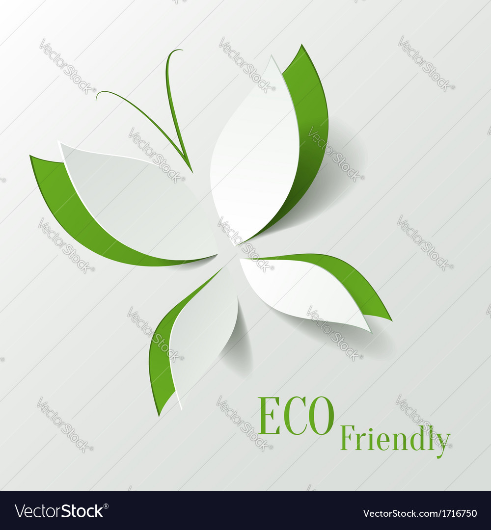 Eco concept  green butterfly cut the paper like vector