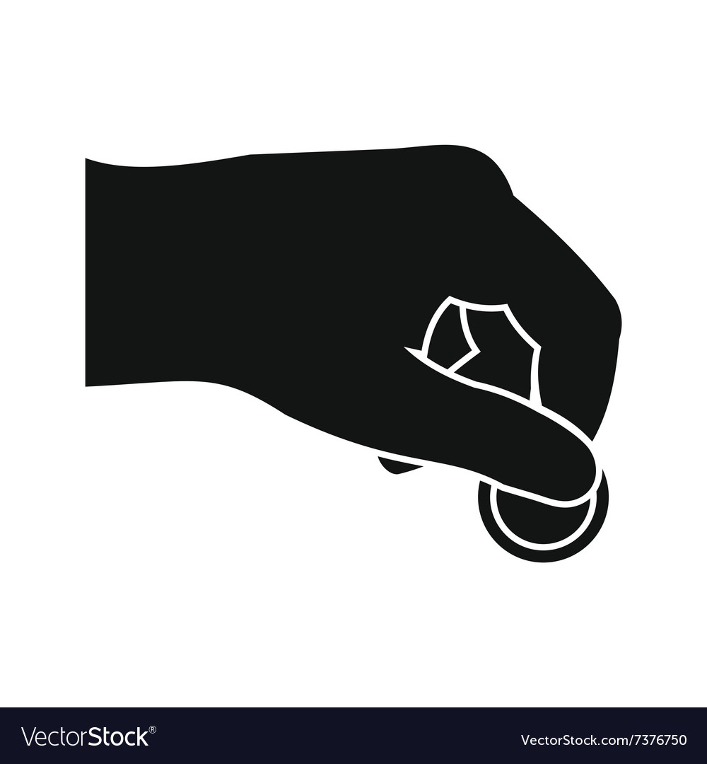 Hand with coin black simple icon vector
