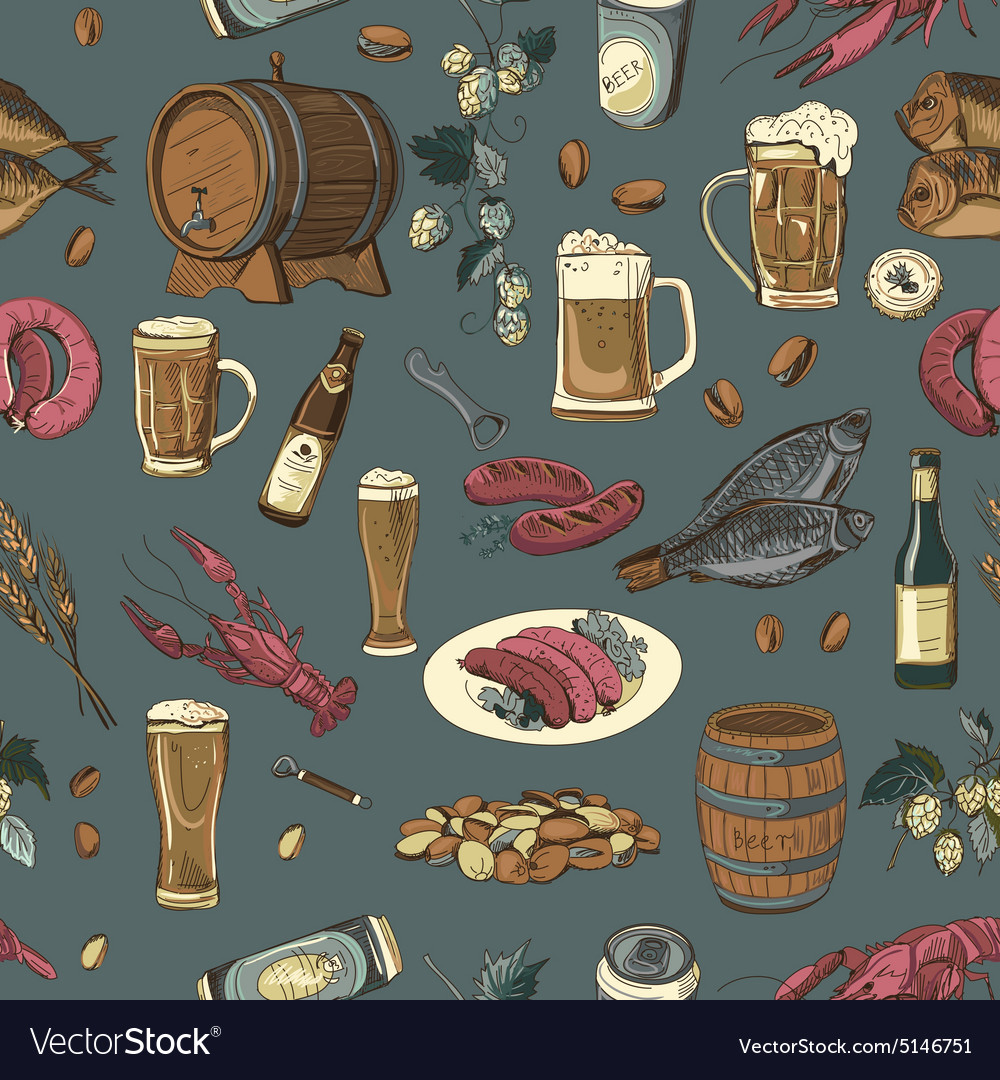 Colored beer hand drawing pattern vector