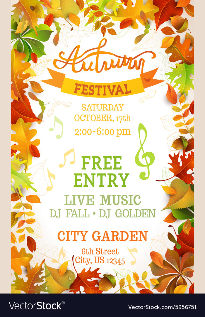 Fall festival template vector