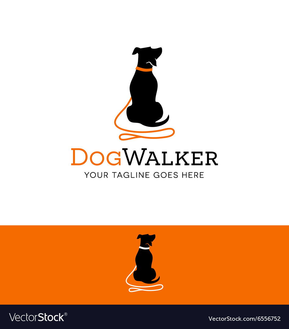 Logo for dog walking pet related site or business vector