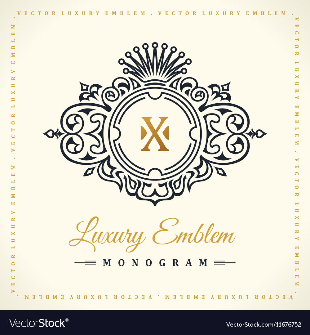 Vintage gold logo set flourishes crest vector